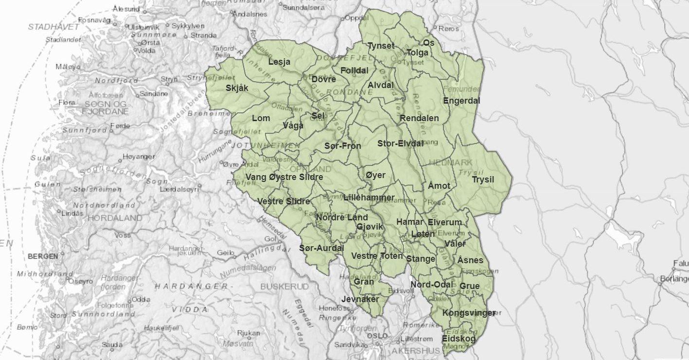 kart innlandet